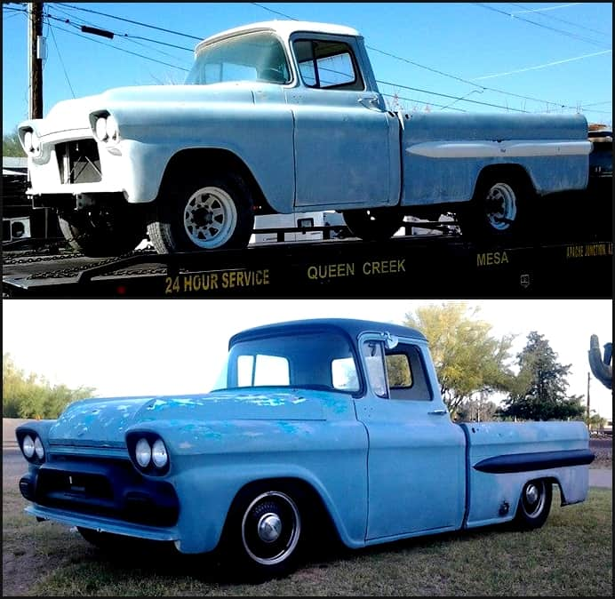1959 GMC Before and After Undergoing a B-Body Chassis Swap