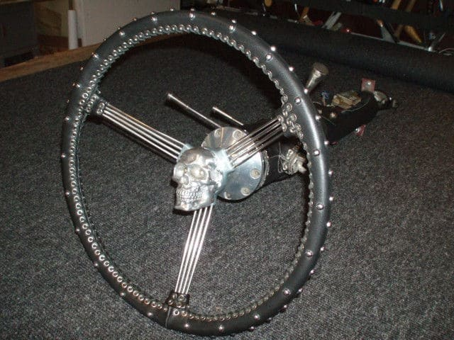 The Black Bitch Leather Wrapped Hot Rod Steering Wheel