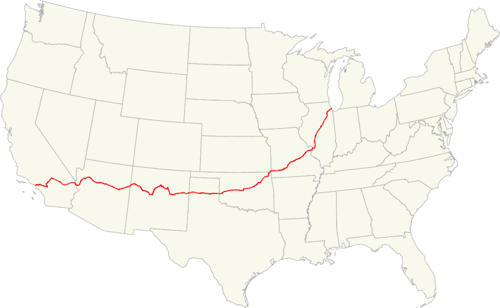 Map of US Route 66