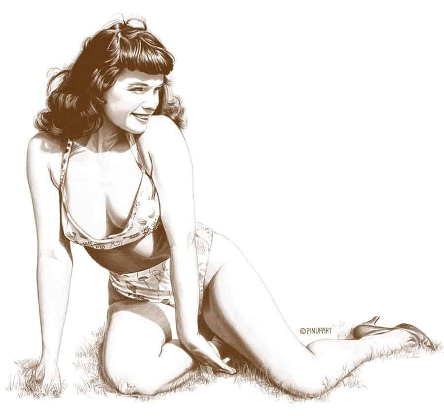 Drawing of Bettie Page