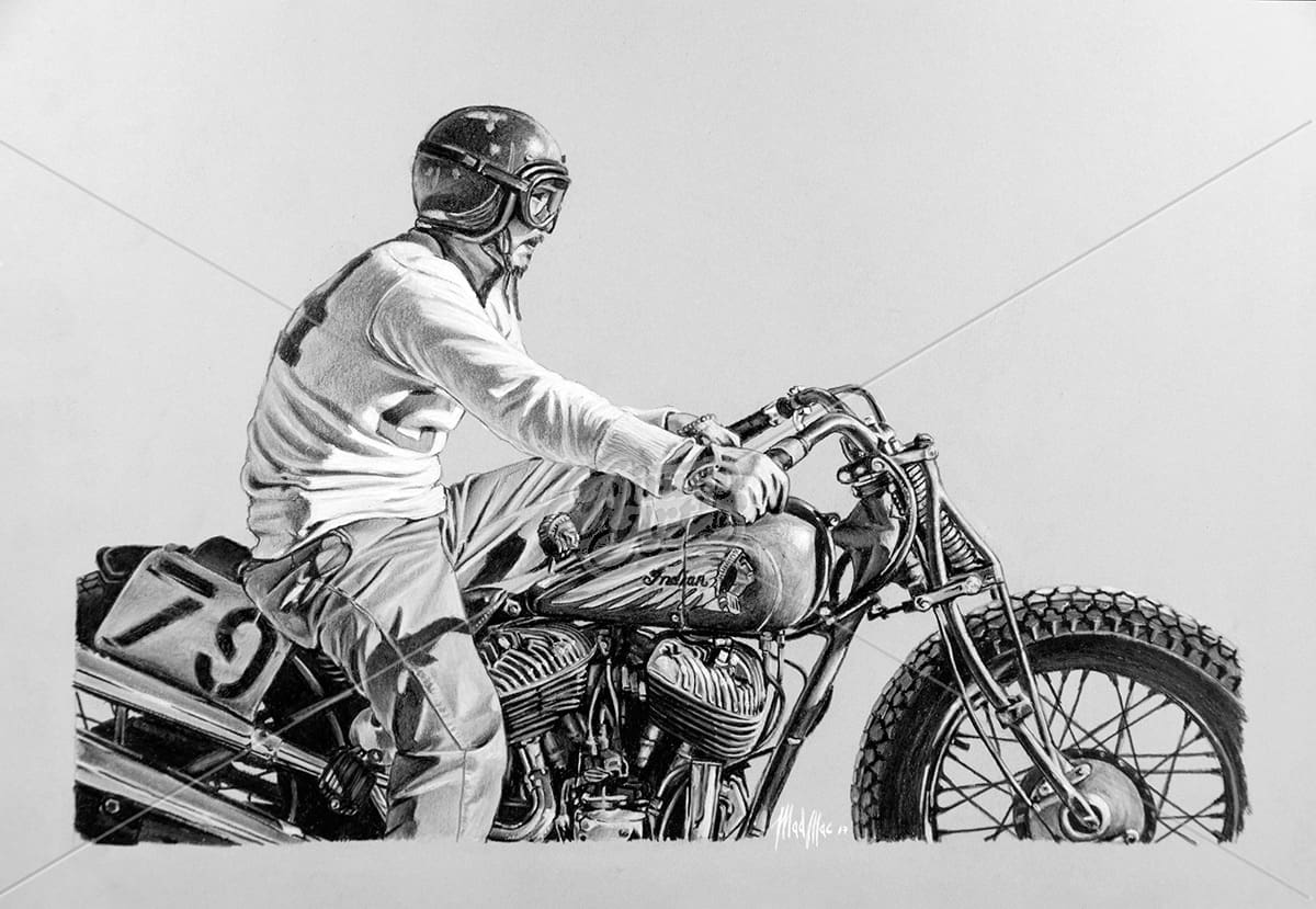 Drawing of vintage motorbike Indian, not an Harley Davidson, at start of a race. Pastels on paper