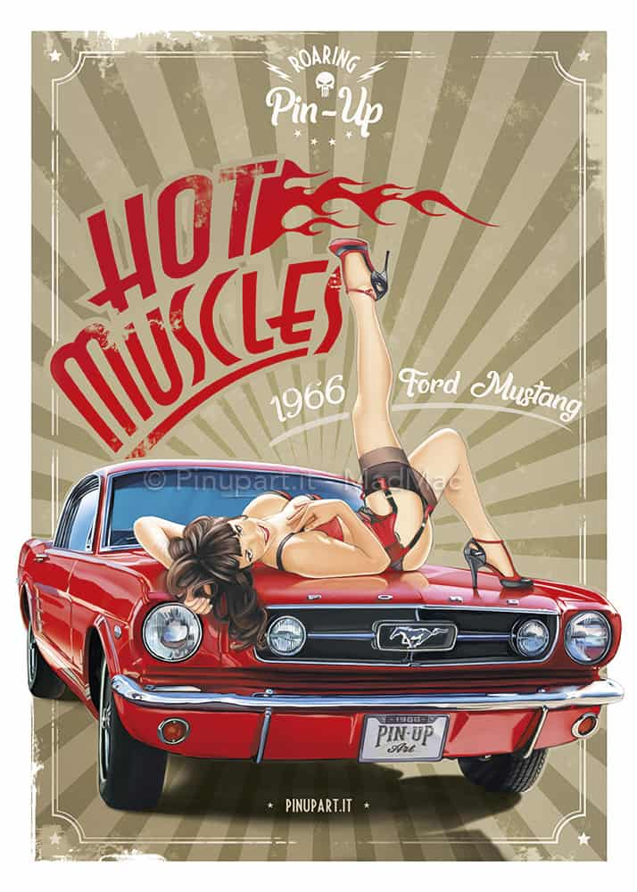 Drawing-painting of Ford Mustang with Pin-Up