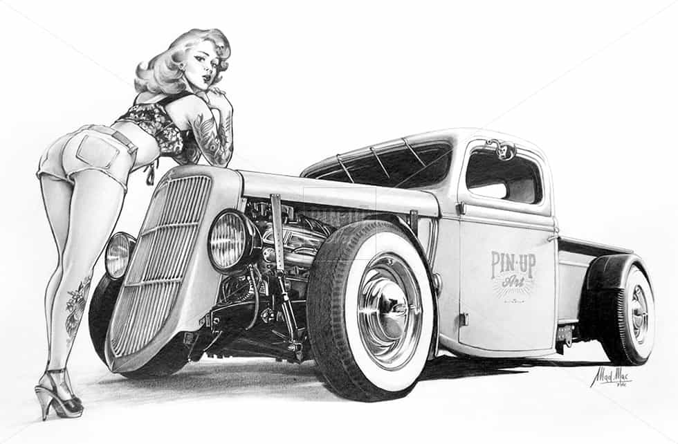 Hot Rod Pin Up Girl drawing pencil on paper