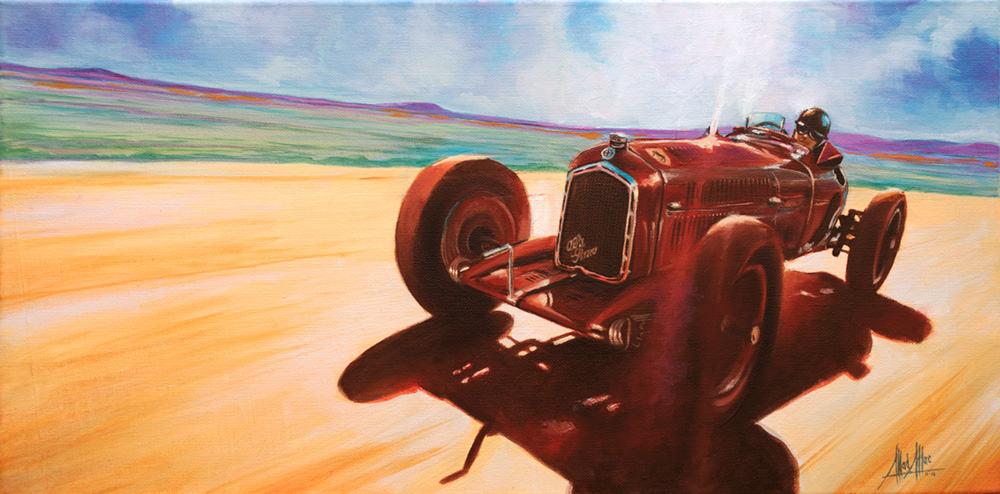 Oil on canvas painting of 1932 Alfa Romeo Type 3