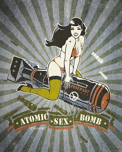 Pin up Bettie Page riding bomb