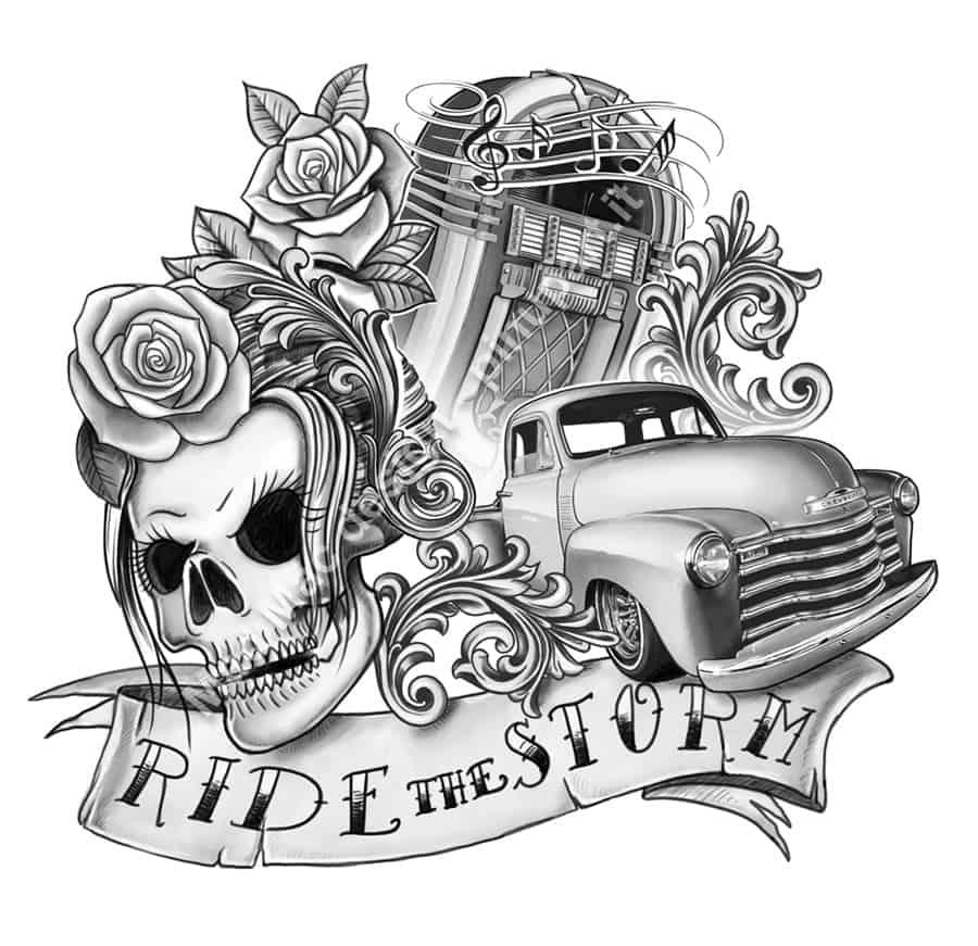 Rockabilly tattoo design - Ride the Storm