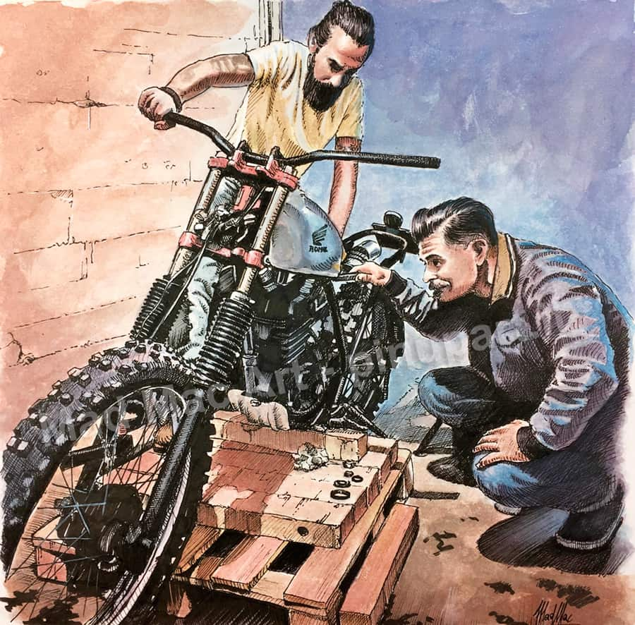 Watercolor and ink painting of scrambler motorbike assembled in garage