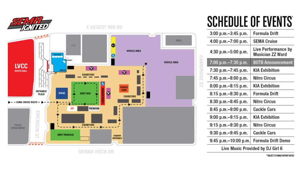 SEMA Ignited Map and Schedule