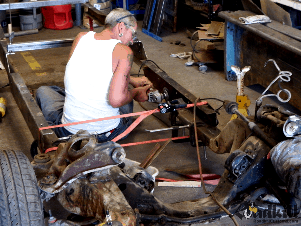 1955 Chevrolet 3100 Build - Crafting a frame off the sub frame using the original 1955 frame rails, cut and staggered.