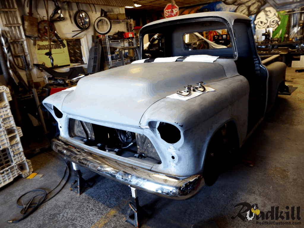 1955 Chevrolet 3100 Build - Front Bumper.
