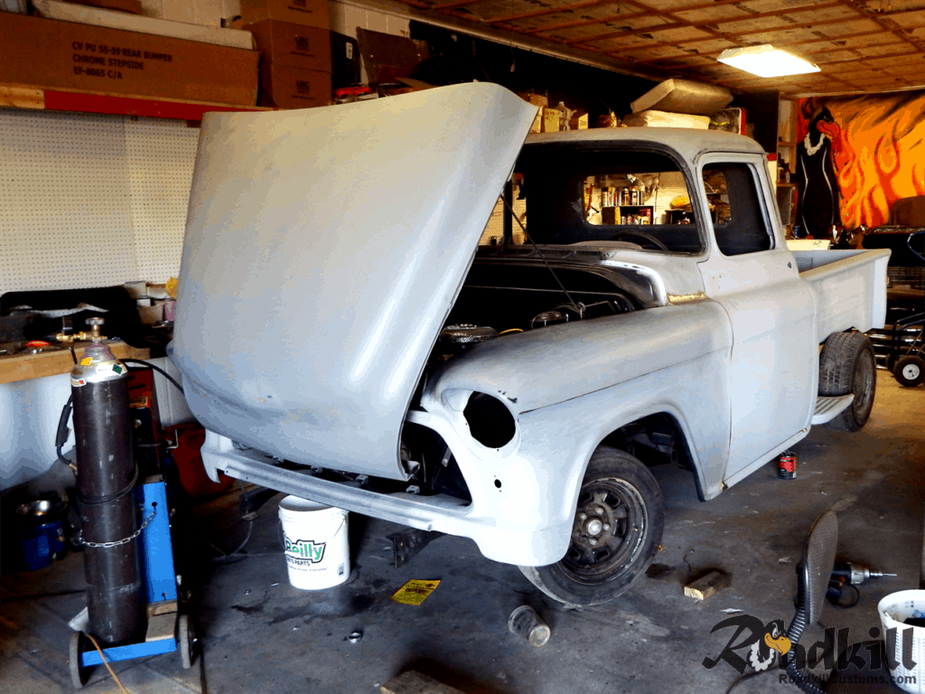 1955 Chevrolet 3100 Build - Front-tilt Hood