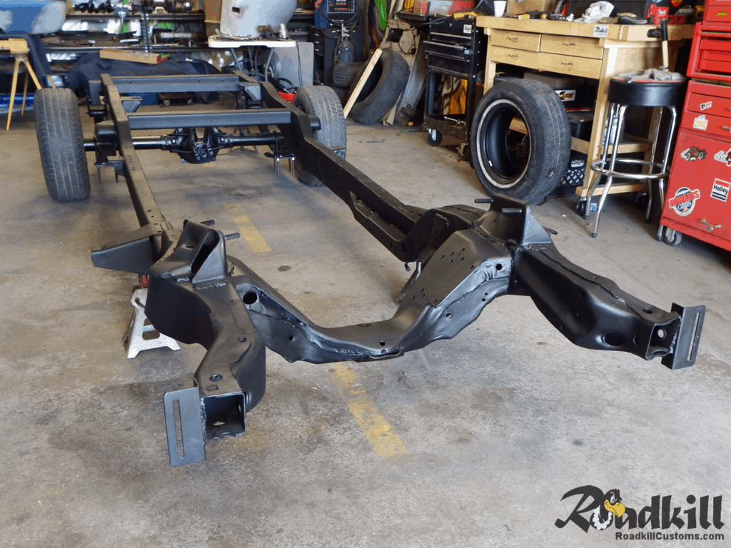 1955 Chevrolet 3100 Build - The chassis, coated and ready for engine and front-end fit.