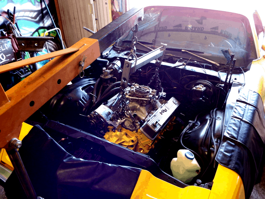 1976 Camaro Bumblebee Engine Swap ~ The fresh mill slides in nicely