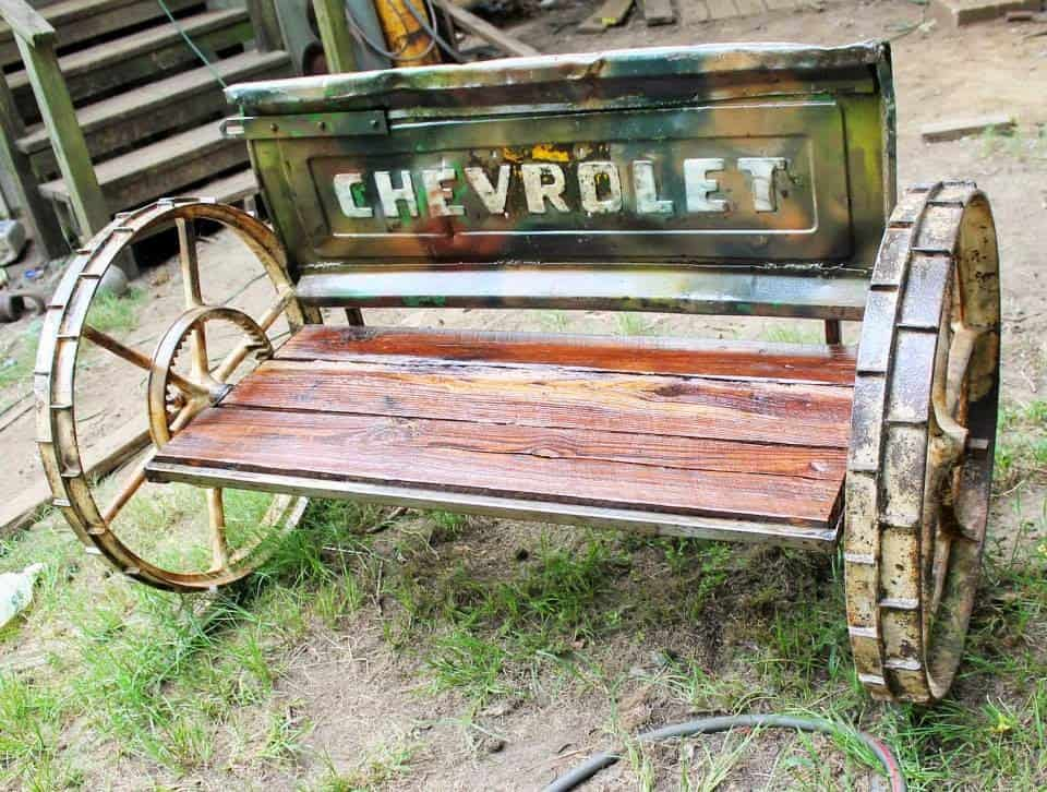 Camo Redneck Chevy Truck Tailgate Bench by RecycledSalvage