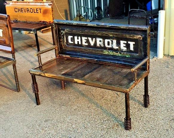 Chevrolet Tailgate Bench with Rebar and Metal Base