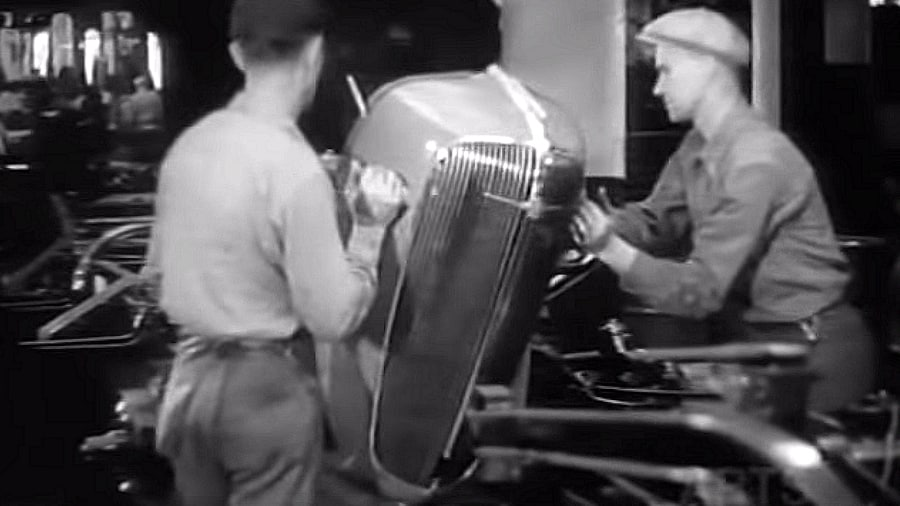 1936 Chevrolet Automobile Assembly Line Footage