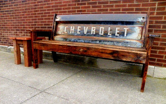 Reclaimed Barn Wood Chevy Tailgate Bench