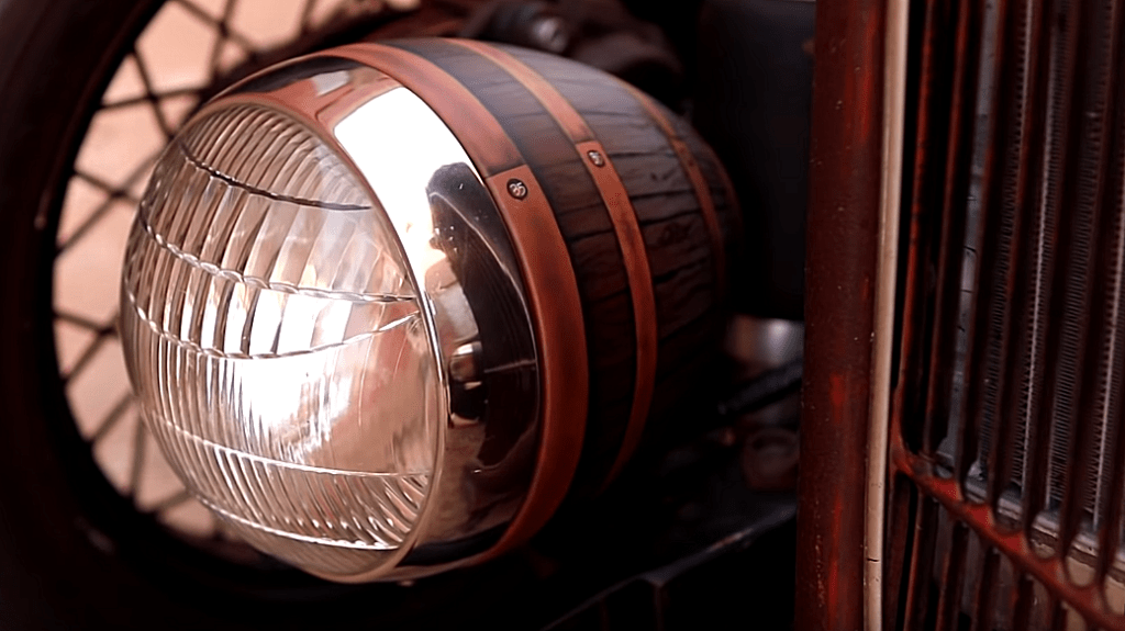 shep shepherd's 1935 ford rat rod headlight