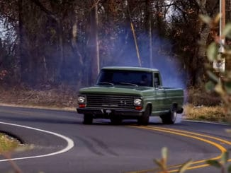 """Red Morning"" with Frankenstein Ford, a 1968 Ford F100"