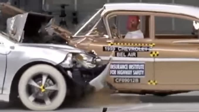 Crash Test ~ 1959 Chevrolet Bel Air vs 2009 Chevy Malibu