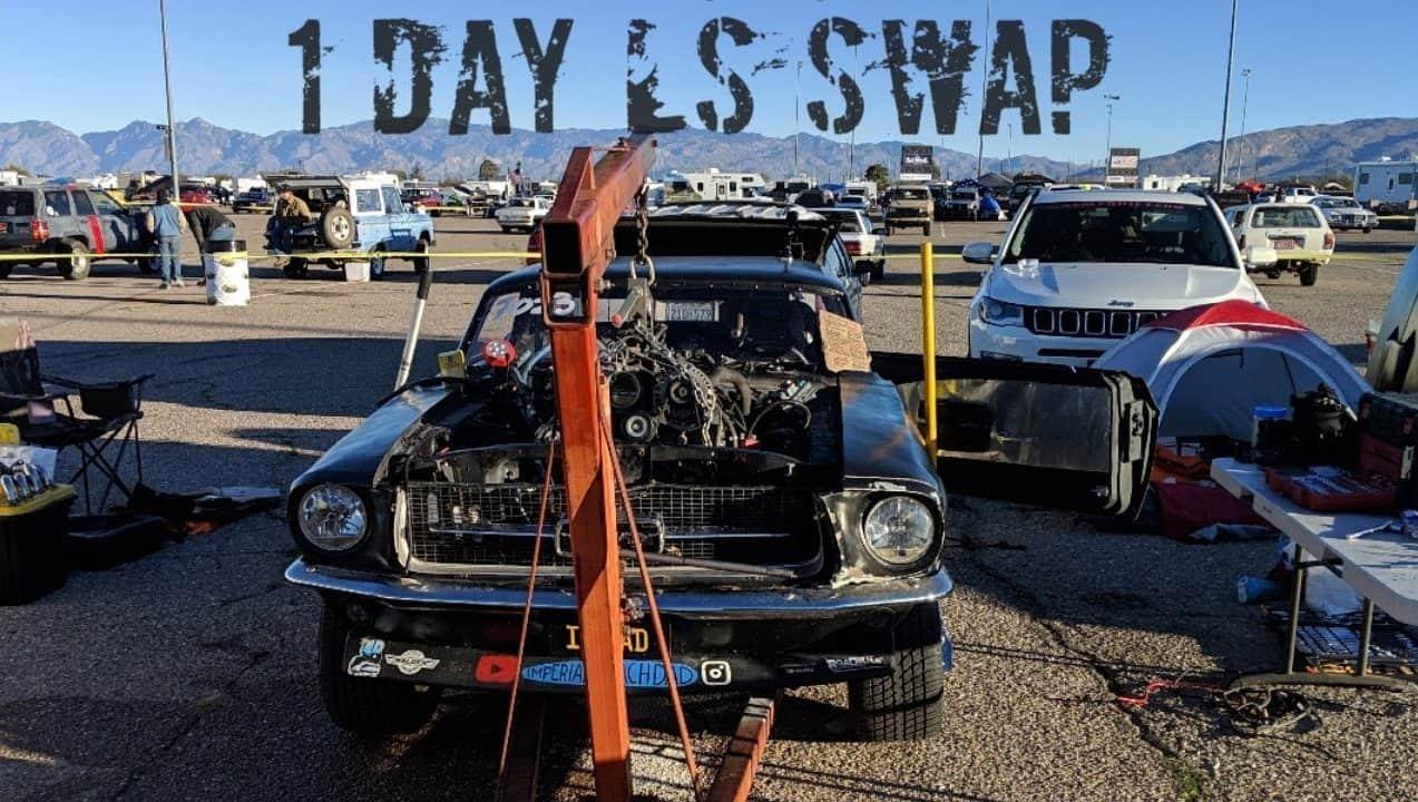Insane 1 Day 1967 Mustang Ls Engine Swap In Zip Tie Drags Parking Lot