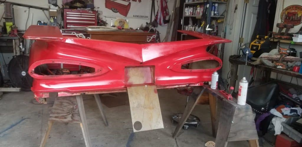 1959 Chevrolet Impala 3-in-1 Casino Table and Bar ~ Fauxtina Base Red Coat