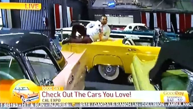 California CBS Reporter Fired After Climbing on Classic Show Cars