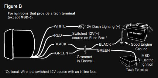 Tachometer Wiring Diagram with Tach Terminal