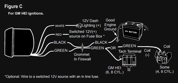 GM HEI Ignition Tachometer Wiring Diagram