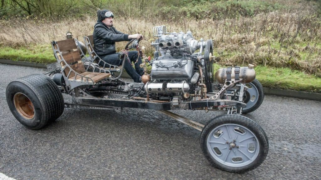 Inventor Building Steampunk Inspired Automatron Car