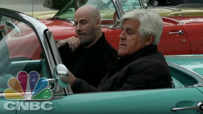 Jay Leno and John Travolta Cruise a 1955 Ford Thunderbird