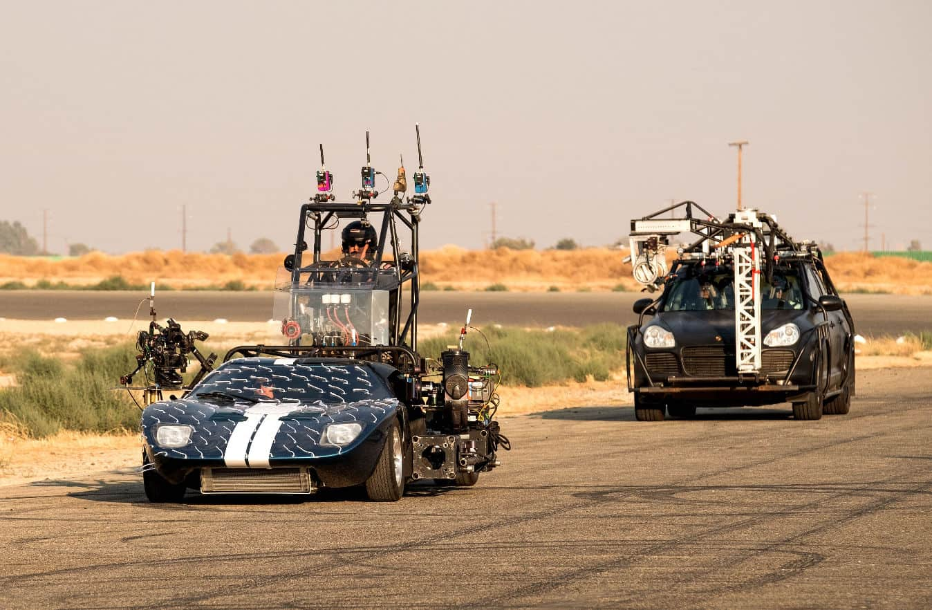 Two of the photo rigs used to capture the track action in Ford v Ferrari