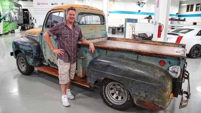 Davey Hamilton's 1952 Ford pick-up truck that is engineered to drive backwards.
