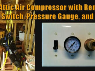 Attic Air Compressor with Remote Wall Switch Air Pressure Gauge and Connection Point