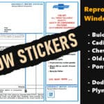 Factory Correct Reproduction Window Stickers