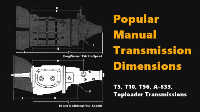 Popular Manual Transmission Dimensions