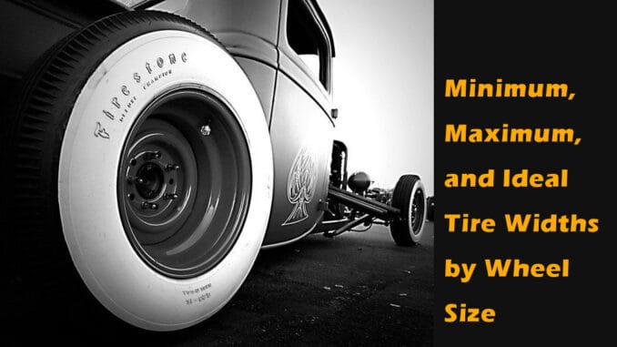 Minimum, Maximum, and Ideal Tire Width by Wheel Size