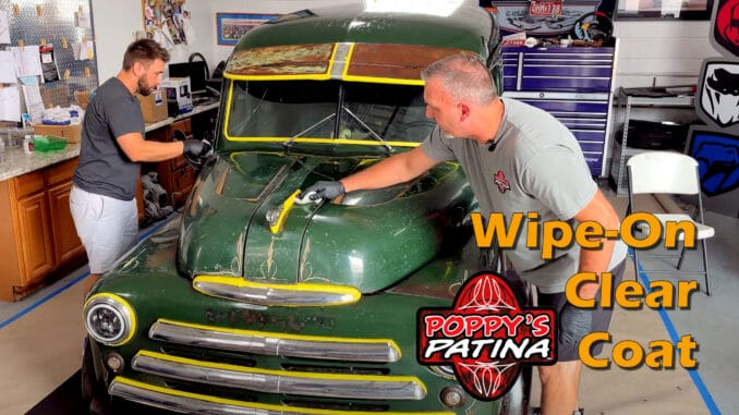 Wipe-On Patina Clear Coat being applied to 1948 Panel Van