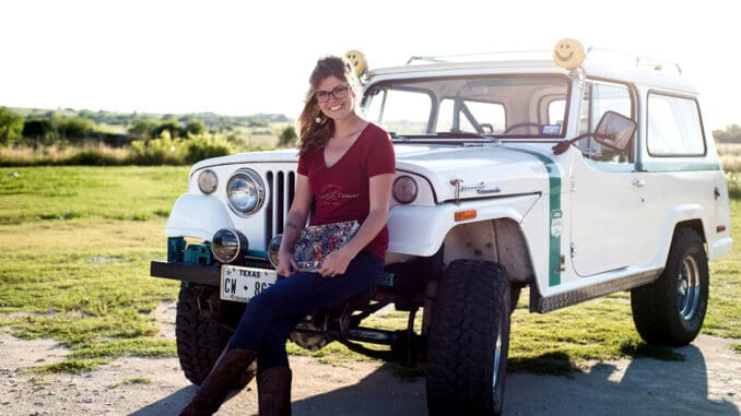 Kate Cook with 1966 Jeepster